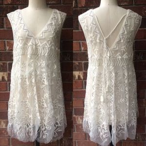 Free People Beaded Embroidered Mesh Slip Dress